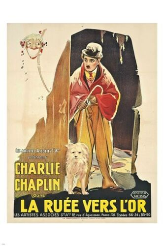 french version GOLD RUSH movie poster CHARLIE CHAPLIN the little tramp 24X36