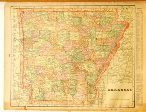 Beautiful Original 1899 Arkansas Large Color Map/10x14