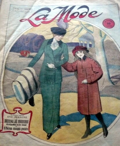 VTG 1910s PARIS FASHION & SEWING PATTERN MAGAZINE LA MODE 1913 FREE PATTERNS
