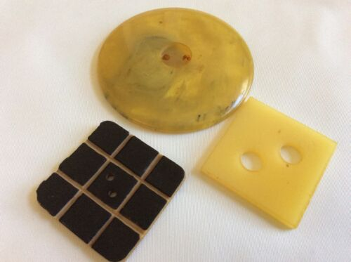 Vintage lot of 3 Art Deco Celluloid large round & square buttons