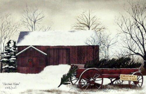 Billy Jacobs Christmas Wagon Farm Country PAPER Art Print  18 x 12
