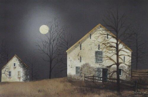Billy Jacobs Still of the Night Farm Country Moon Print  18 x 12