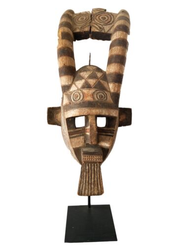 "Rare African Old Bobo Mask Helmet Burkina Faso  26"" H w/ stand"