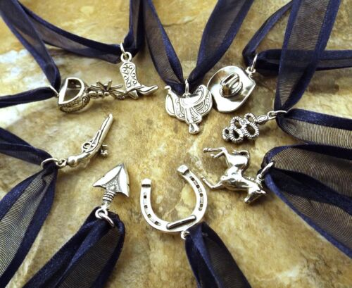 Nine (9} Sterling Silver Texas-Western Themed CAKE PULL Charms BRIDES - WEDDINGS