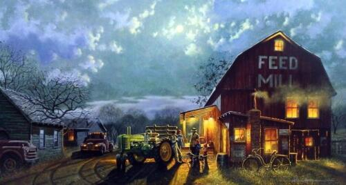 """Dave Barnhouse """"Tales of the Day"""" Farm John Deere Signed Print 28.25 x 16.25"""