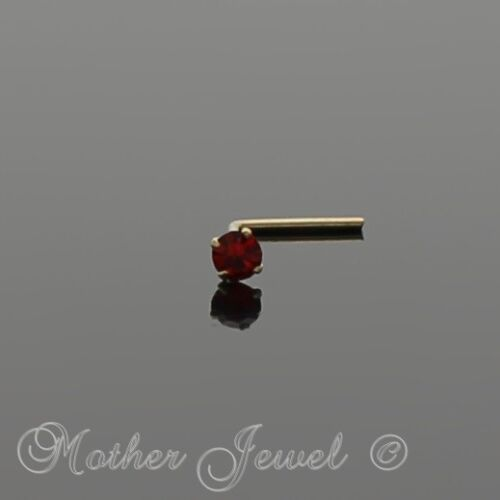 REAL 9K SOLID YELLOW GOLD 2MM RUBY RED CZ L SHAPED BEND BENT NOSE STUD
