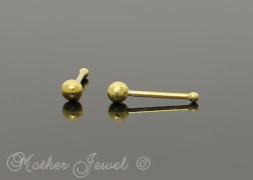 18K YELLOW GOLD SOLID STERLING SILVER MICRO BALL NOSE PIERCING MENS WOMENS STUD
