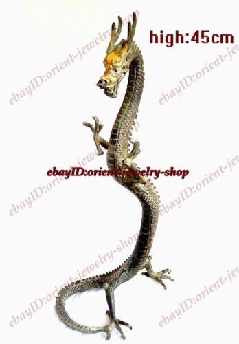 Chinese Folk Favorites Bronze Lucky Fly Dragon Fengshui Statue 45cm