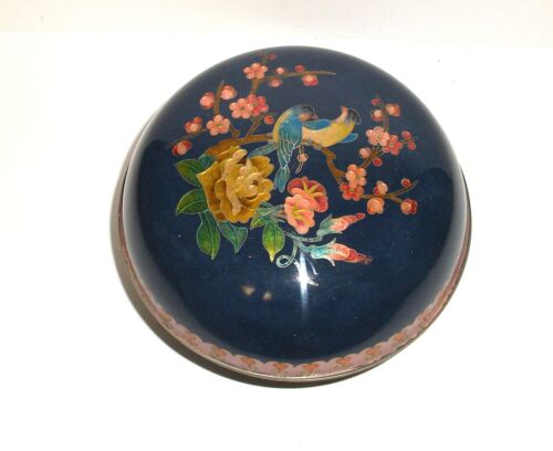 LARGE ROYAL BLUE CLOISONNE GINBARI FLORAL BIRD DESIGN ENAMEL TRINKET BOX