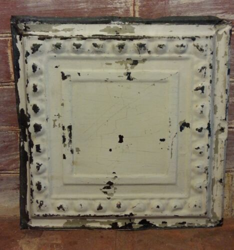 "1890's 12"" x 12"" Antique Tin Ceiling Tile Ivory QT3  Vintage Reclaimed Metal"