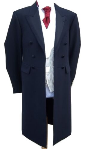 """£20 navy blue long frock coat goth gothic stage fancy dress jacket 36 38 40 42 """""""
