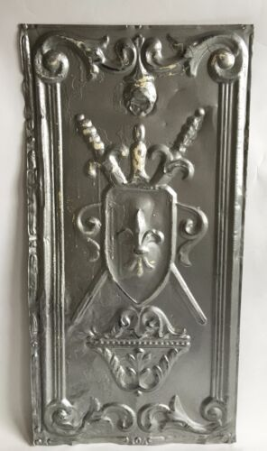 "Antique1890's Tin Ceiling Tile Silver Shield *See salvage Videos* 12"" x 24"" B66a"