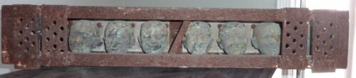 Vintage Industrial Copper Doll Head Mold 8 Head Rack Steampunk Industrial Decor