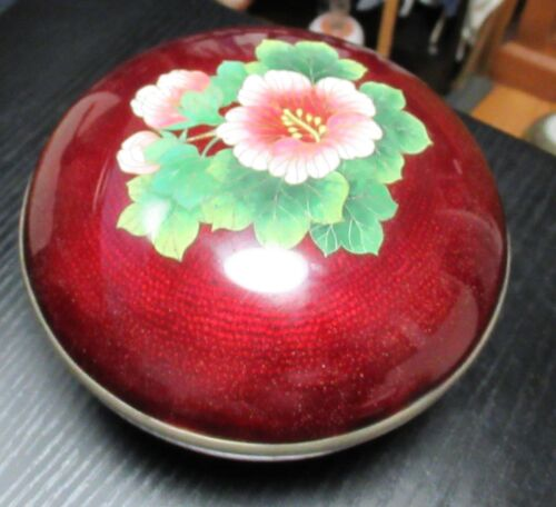 OLD HUGE JAPANESE CLOISONNE BLOOD RED GINBARI ENAMEL ROSE JAR BOX