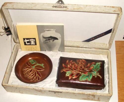 RARE ANDO REPOUSSE CLOISONNE COPPER FLORAL ENAMEL BOX & TRAY SET SIGNED IN BOX