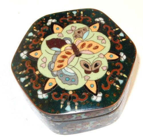 BRONZE JAPANESE CLOISONNE GINBARI ENAMEL FLORAL BUTTERFLY HEXAGON JAR BOX