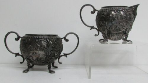 ANTIQUE SILVER CREAMER & SUGAR DUTCH ARCHITECTURAL WITH WINDMILLS & SAILBOATS