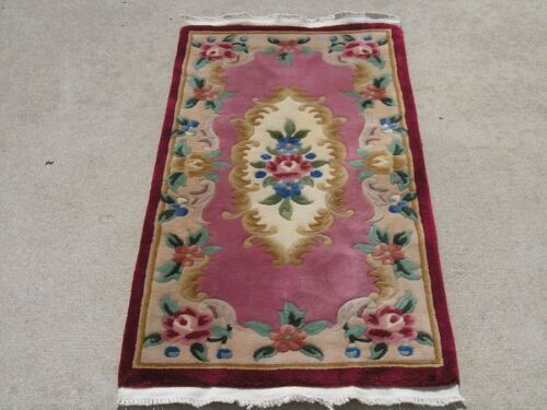 """Beautiful Vintage Red Pink Chinese 90 Line Sculpted Oriental Rug Mat 24x51"""""""