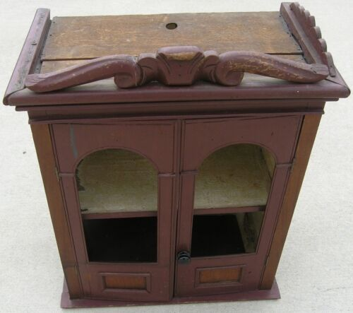 18/19 Century Delicate Early American Primitive Hanging Cupboard Red Paint