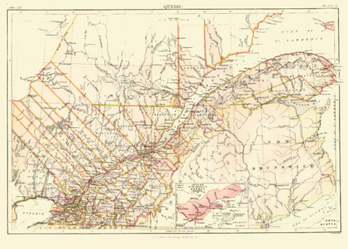 1878 Color Map of the CANADIAN PROVINCE of QUEBEC -Great Detail- Counties shown