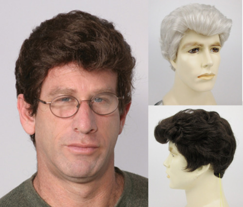 MENS MALE SHORT HAIR STRAIGHT NATURAL WAVY BRUSHED BACK STEVE FULL WIG COSTUME