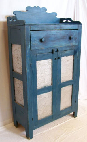 Antique 1840s Heart Pine Primitive Folk Art Pie Safe NC Blue Paint Cupboard