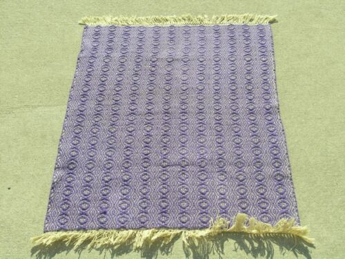Beautiful Antique American Cotton Hand Woven Twill Weave Rug Mat Fringed Purple