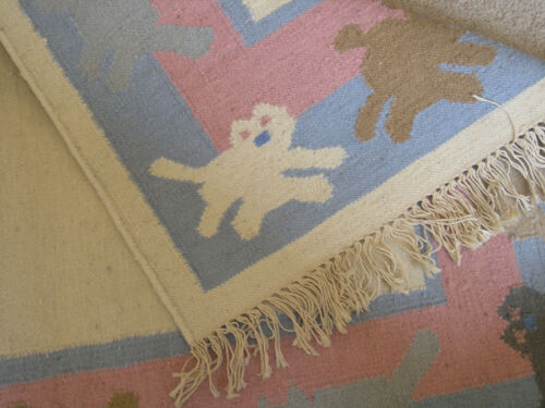 Gorgeous Hand Woven Kids Rug Cats Kittens Pups Dogs Wool 3x5 ft New Old Stock