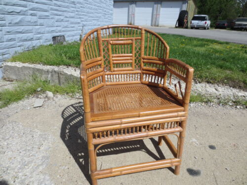 Vintage 1950's ornate rattan bamboo tiki chair chinoise asian