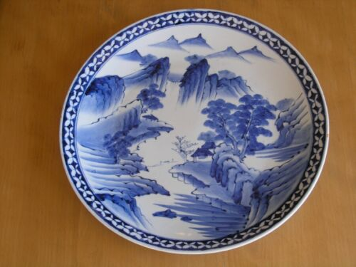 Early Japanese Signd Arita Ko-Imari Chinese Blue White Ceramic Porcelain Charger