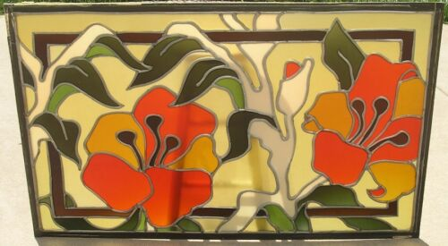 """3 Mid Century Ben Mayer Art Glass Stained Leaded Window Ceiling Panels 30x48"""""""