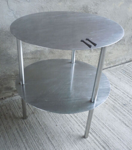 "Vintage Industrial 2 Tier Round Stainless Steel Table 26""high (#11)"