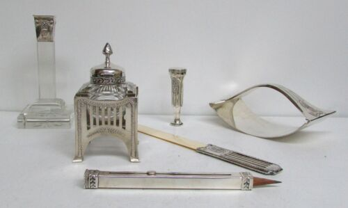 EXQUISITE 1890's GERMAN CONTINENTAL PETITE SILVER 6 PIECE DESK SET