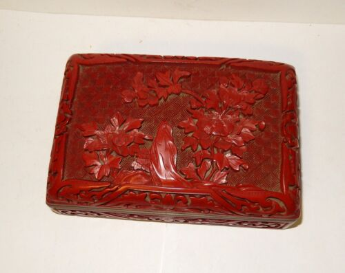 "LARGE 6"" CHINESE FLORAL CARVED CINNABAR LACQUER ENAMEL HUMIDOR BOX"