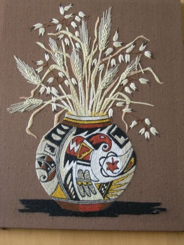 Hand Embroidered American Indian Pottery Vase Wheat Stalks Sunset Designs 16x20""