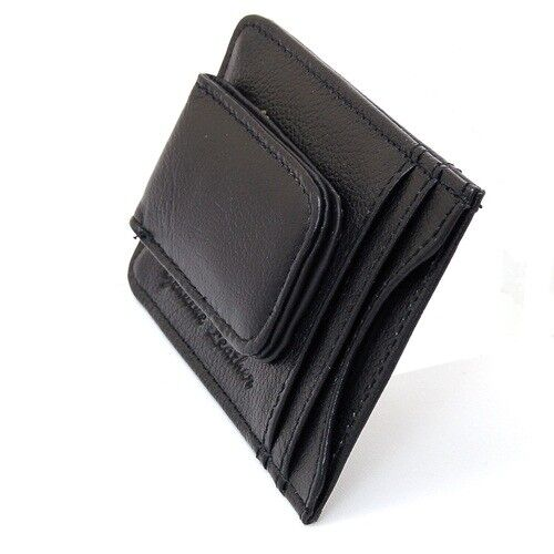 Mens Leather Money Clip Slim Front Pocket Wallet Magnetic ID Credit Card Holder