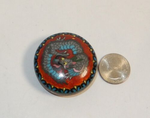 TINY OLD BRONZE JAPANESE GINBARI CLOISONNE BLUE ENAMEL DRAGON SNUFF JAR BOWL BOX