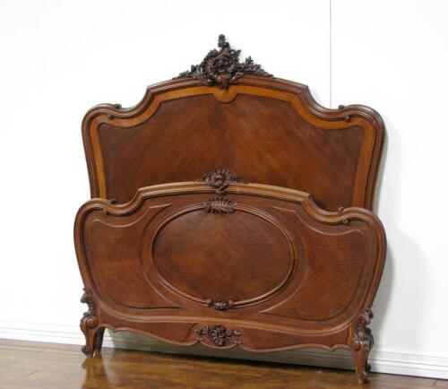 55320 : Antique French Louis XV Walnut Carved Bed