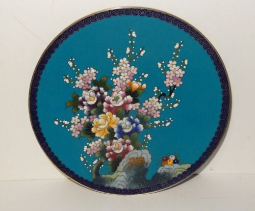 """INABA CLOISONNE TURQUOISE ENAMEL FLORAL BLOSSOMS 7""""1/4 PLATE SIGNED"""