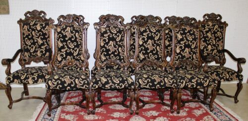 Ten Antique Style LXV Carved Country French Dining Chairs 2 Arm & 8 Side Chairs