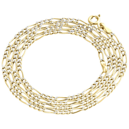 Real 10K Yellow Gold Diamond Cut Figaro Style Chain 2mm Necklace 16-24 Inches