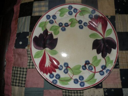 ANTIQUE ADAMS VIRGINIA SPONGEWARE PLATE FLORAL