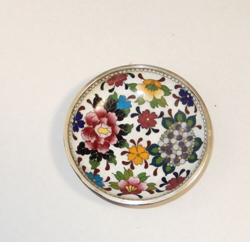 SMALL INABA CLOISONNE ENAMEL UNSIGNED BLOSSOMS PLATE TRAY