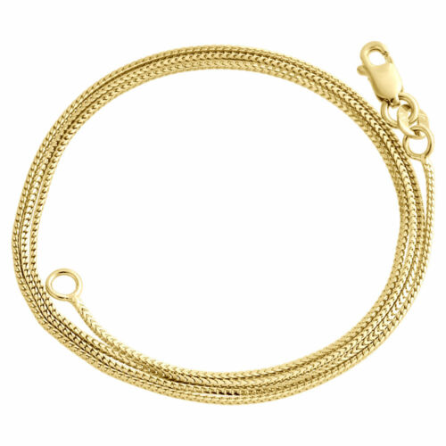 10K Yellow Gold Solid Franco Box Chain Closed Link 0.75mm Necklace 16 - 24 Inch