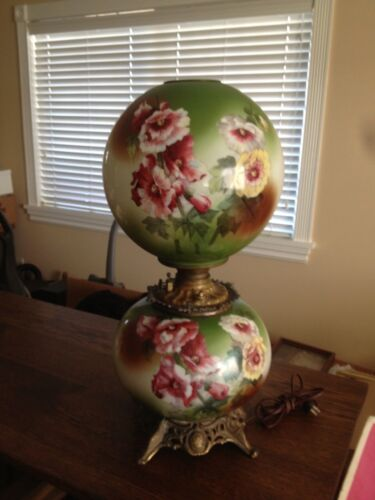 Antique Victorian Gone With The Wind Hand Painted Jumbo Banquet Oil Lamp Parlor