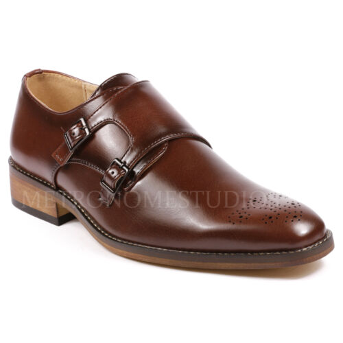 Metrocharm Men's Perforated Double Monk Strap Slip On Loafers Dress Shoes