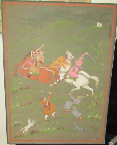 INDIA HUNTING SCENE ORIGINAL WATERCOLOR PAINTING UNSIGNED