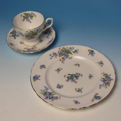 Tuscan China - Forget Me Not Flowers - Cup, Saucer, Plate Trio