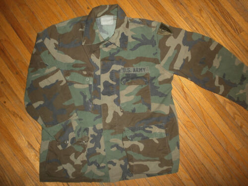 US ARMY CAMOUFLAGE BDU SHIRT vtg Camo CY Patch 38th Infantry Jacket DivisionArmy - 66529