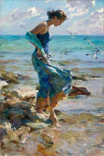 ZWPT15 100% hand-painted modern Girl at the beach oil painting on Canvas